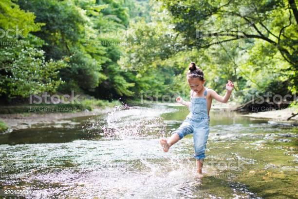 Photo of Little girl playing on a stream