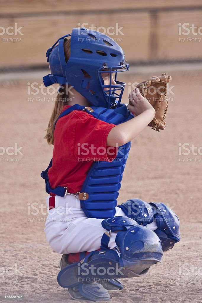 Little Girl Playing Softball royalty-free stock photo