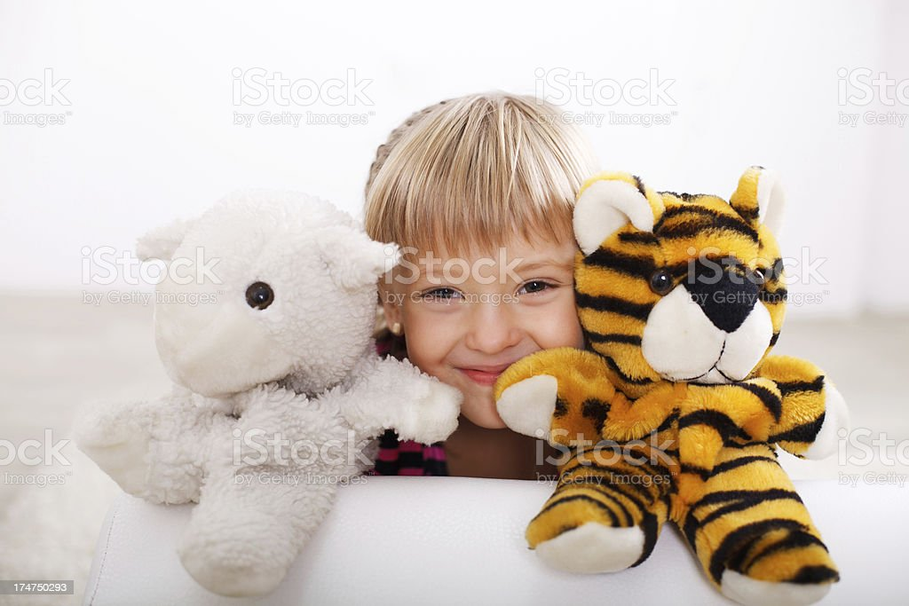 Little girl playing theatre. royalty-free stock photo