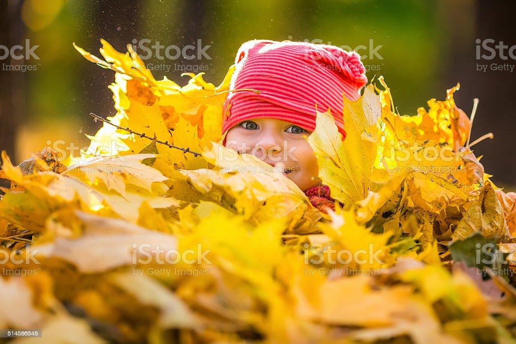Kleine Mädchen spielen mit Herbstlaub – Foto