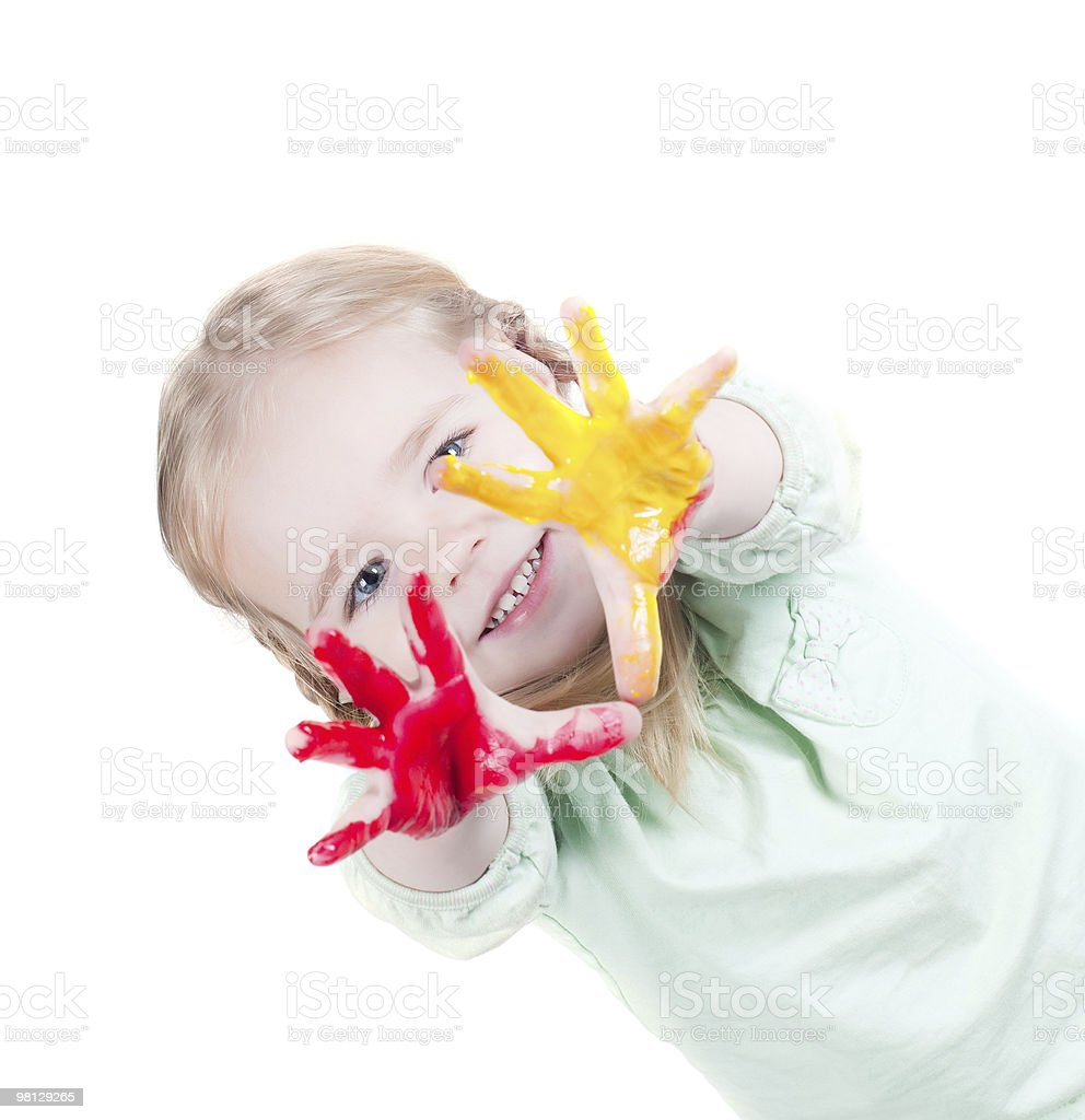 Little girl playing with colors royalty-free stock photo