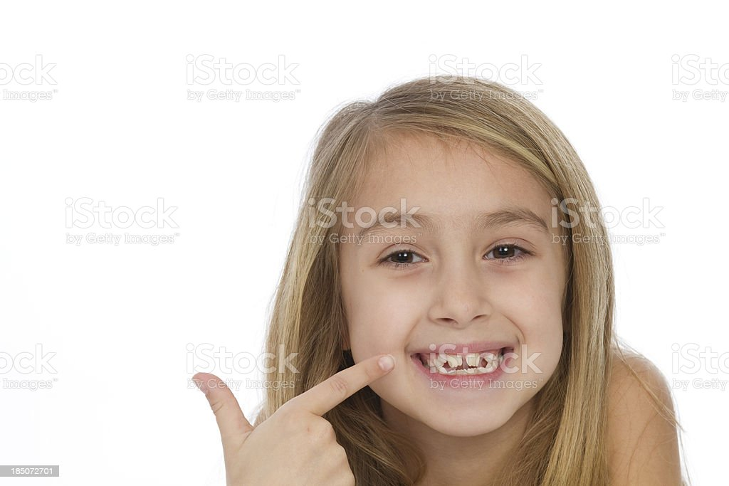 little girl pointing at her smile royalty-free stock photo