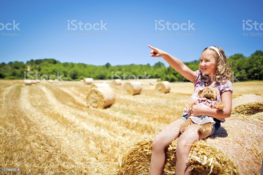 Little girl pointing to the sky royalty-free stock photo