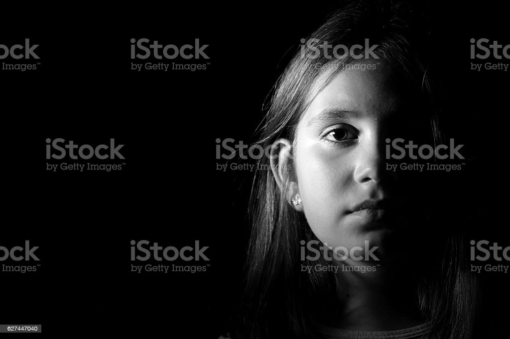 Little girl portrait monochrome stock photo