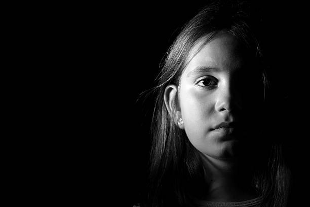 Little girl portrait monochrome stock photo