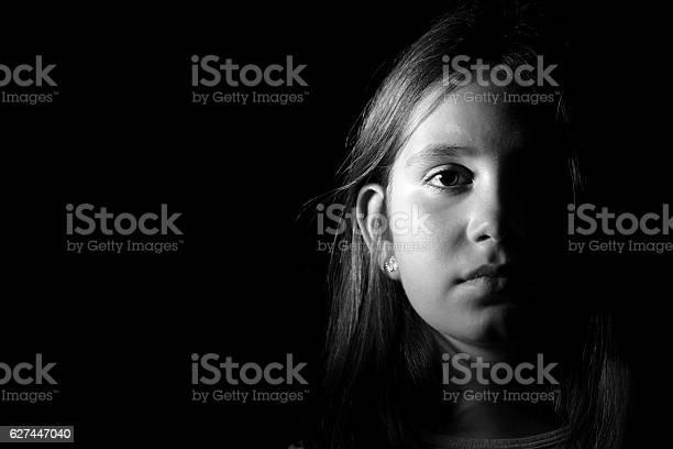 Little Girl Portrait Monochrome Stock Photo - Download Image Now