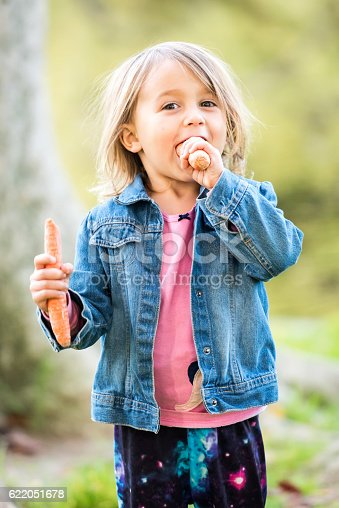 176993221istockphoto Little girl posing at a park eating carrots 622051678