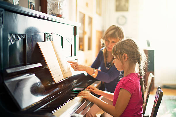 Little girl practicing piano - Photo