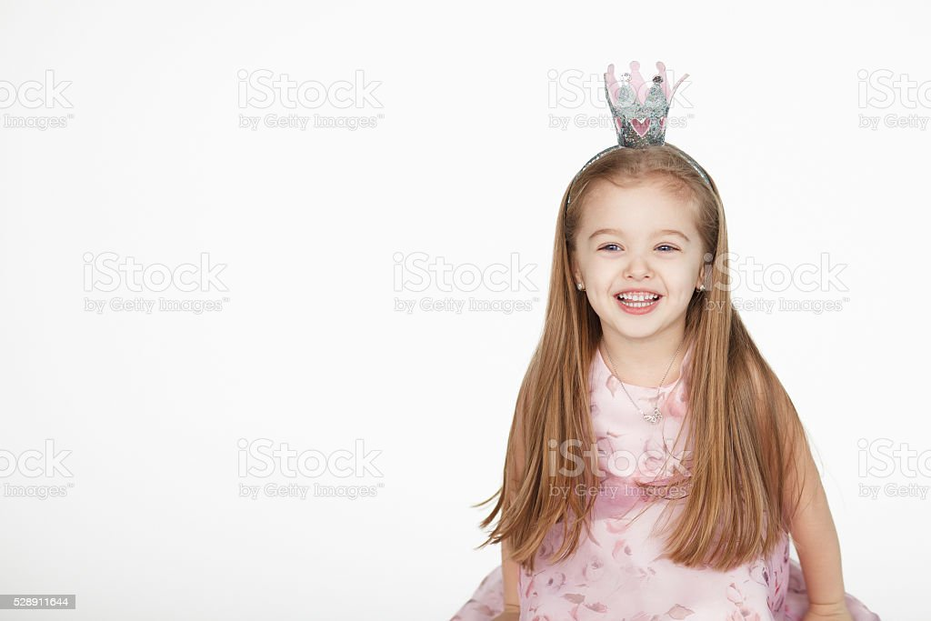 little girl princess over white background stock photo