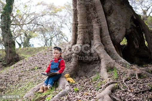 istock Little girl reading a book 921343176