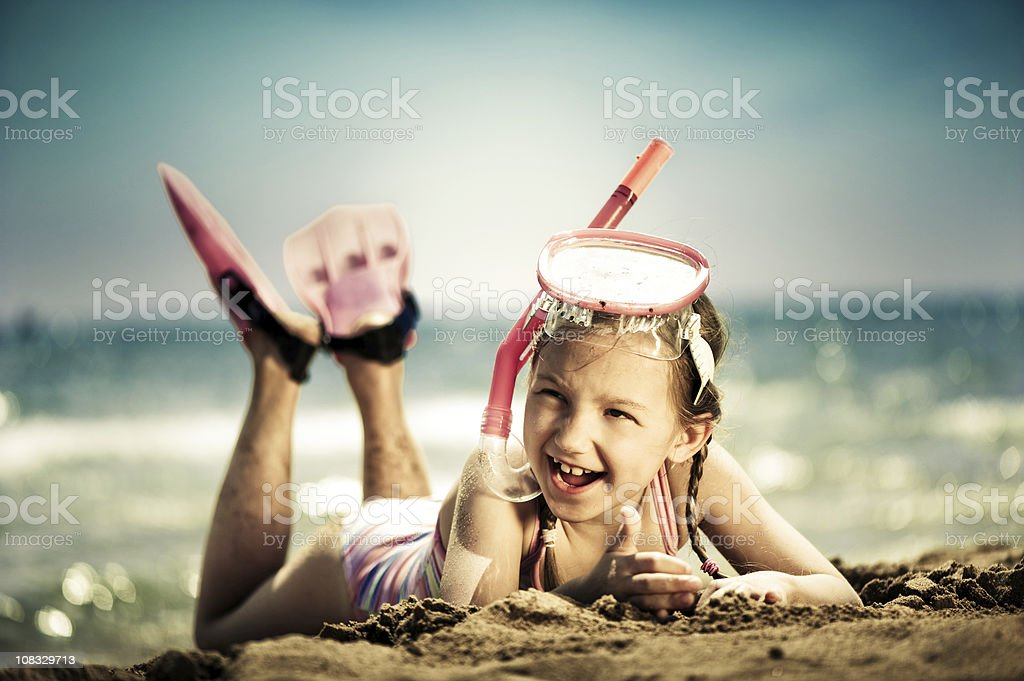 Little girl ready for snorkeling stock photo