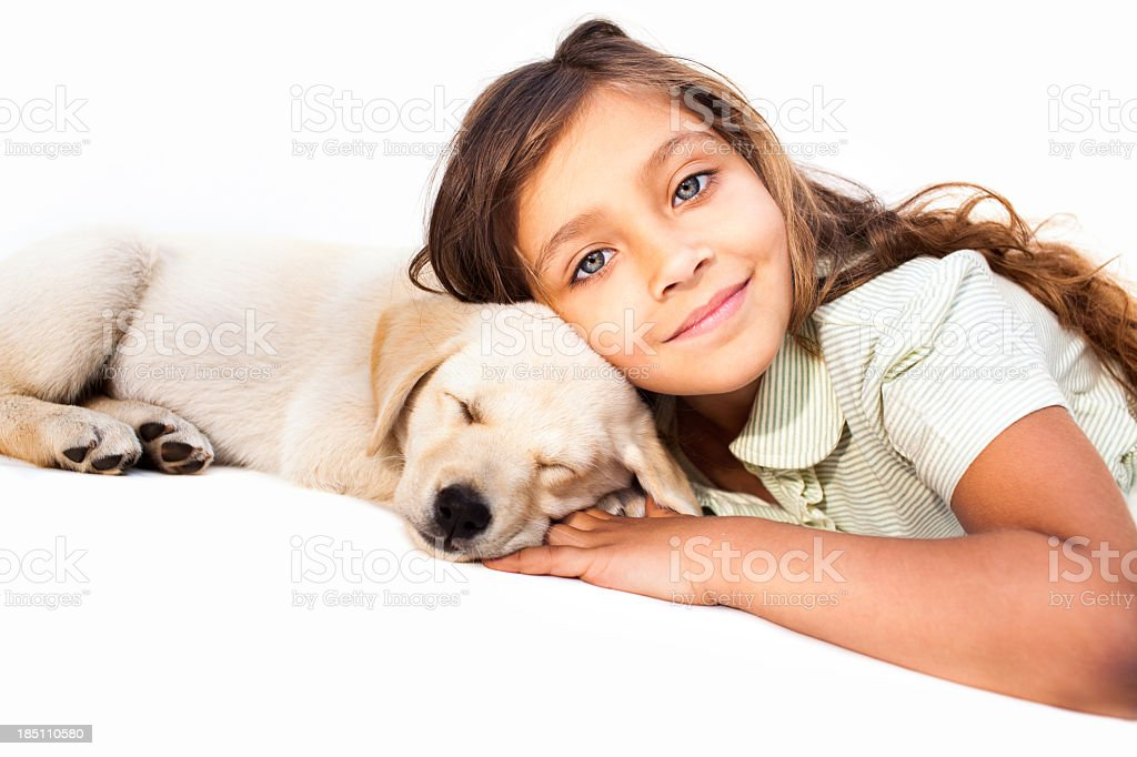 Little Girl Relaxing With Her Pet royalty-free stock photo