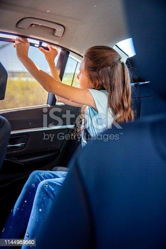 Little Girl rising a sun shade on a rear car window