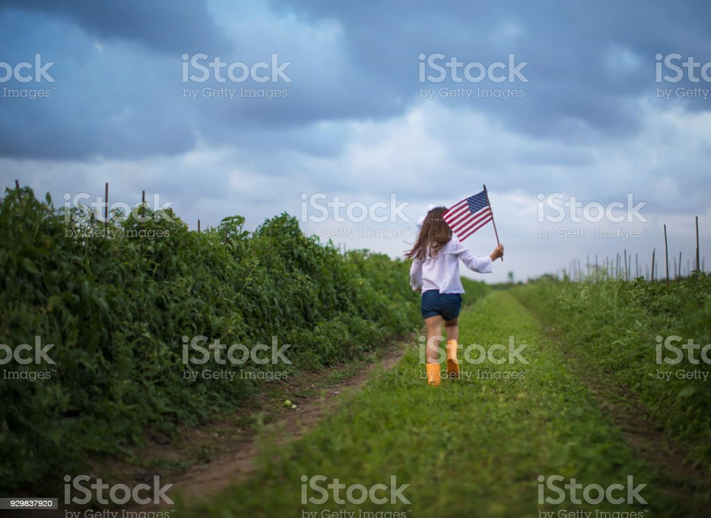 Little girl running with an american flag stock photo