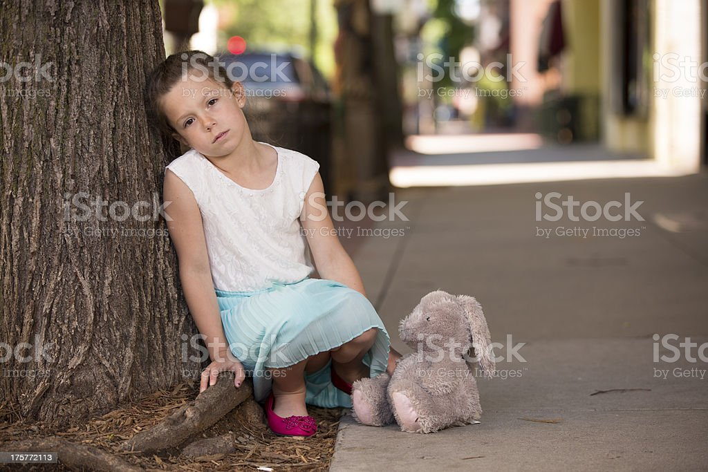 Little Girl Sad and Lost stock photo