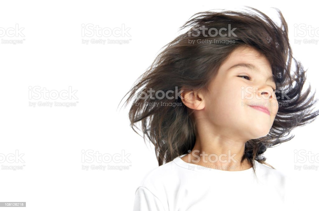 Little Girl Shaking Her Hair, Isolated on White royalty-free stock photo