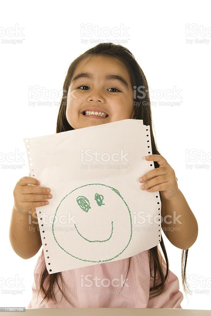 Little girl showing crayon drawing stock photo