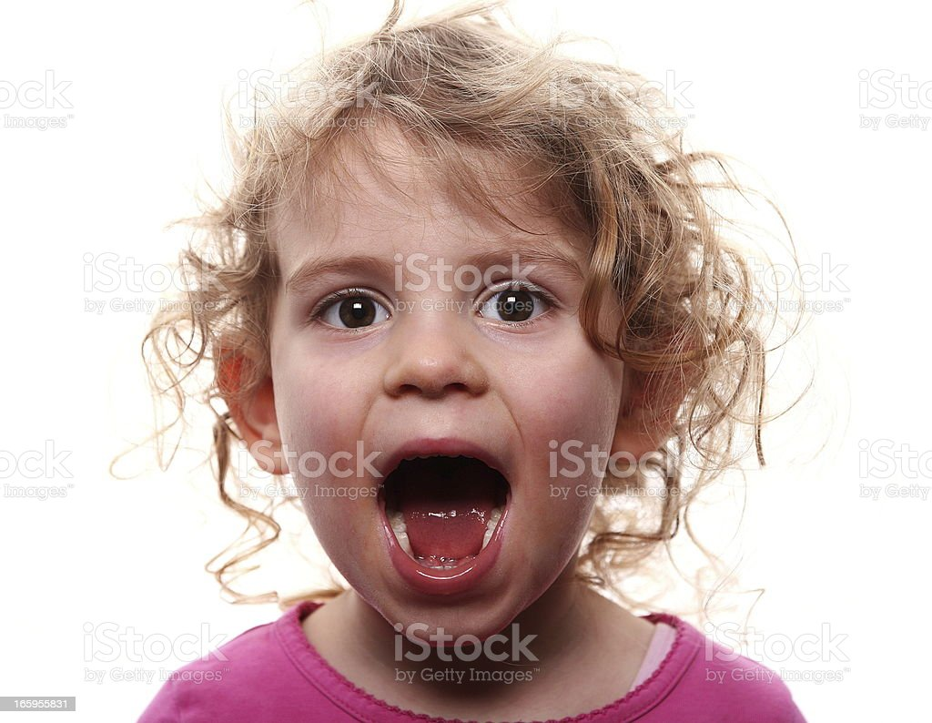 Little girl showing emotions: Screaming royalty-free stock photo