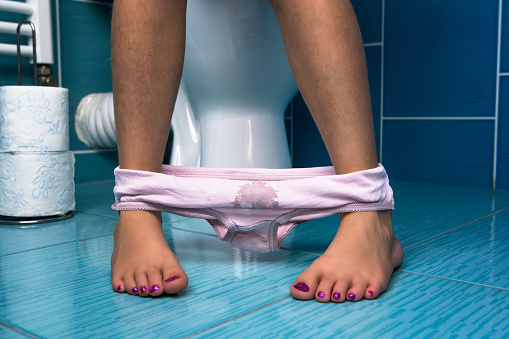 Little Girl Sit On The Toilet Stock Photo - Download Image