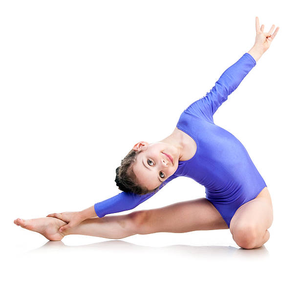 Best White Background Gymnastics Little Girls Only Isolated