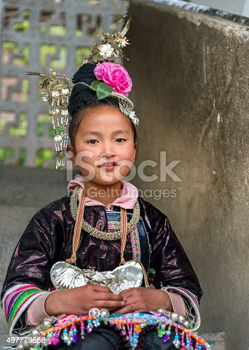 small Dong Village, Huang Gang,Child is dressed in traditional Dong clothing.