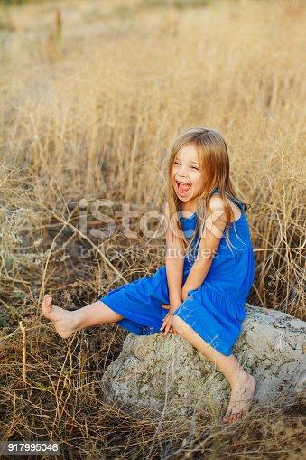 istock Little girl sitting on stones 917995046