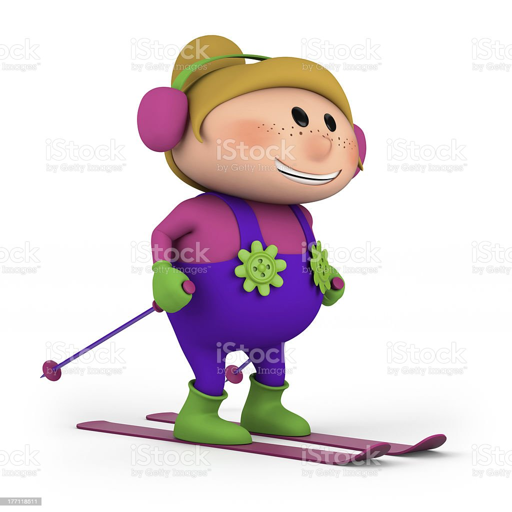 little girl skiing royalty-free stock photo