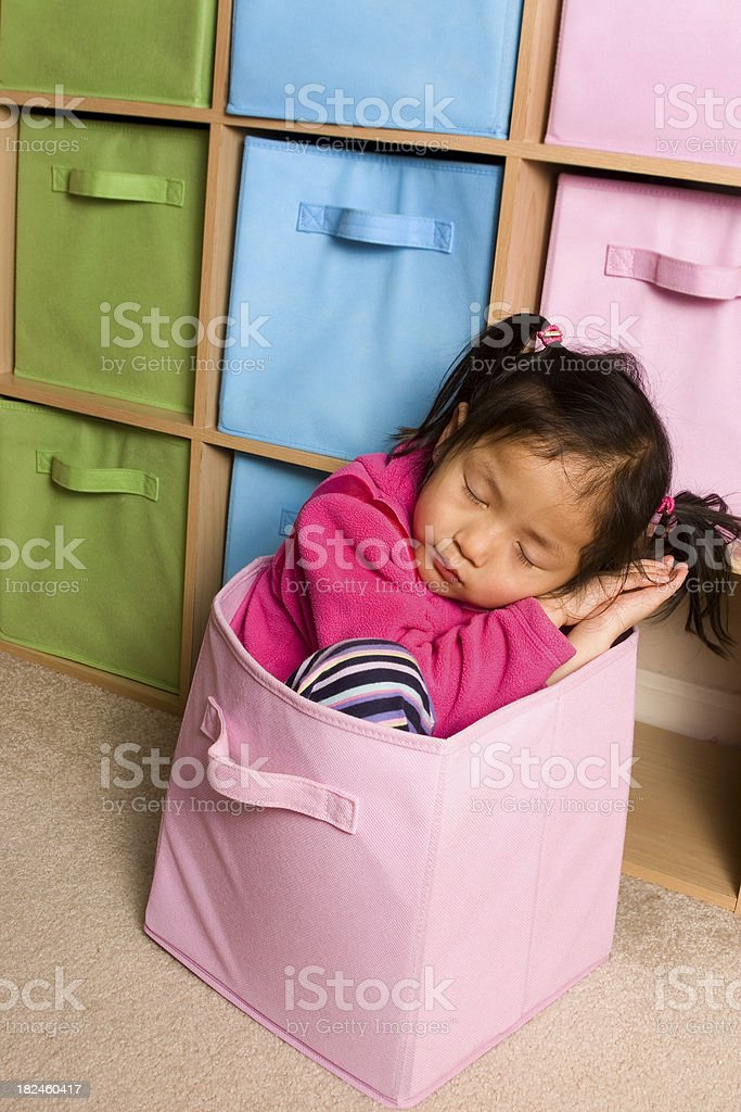 Little girl sleeping in shelving cube royalty-free stock photo