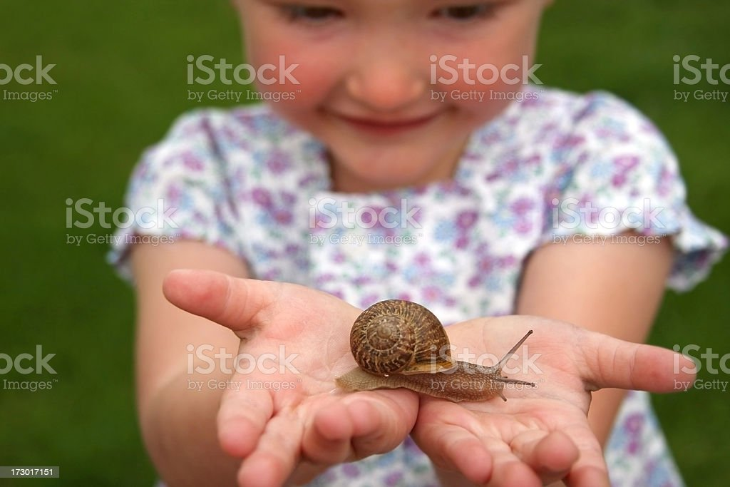 Little girl smiling while holding a snail in her hands royalty-free stock photo