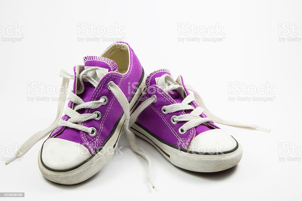little girl sneakers shoes stock photo