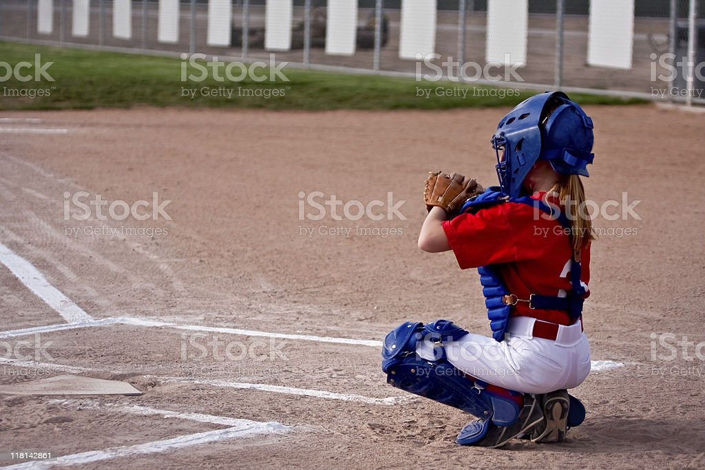 Little Girl Softball Catcher stock photo