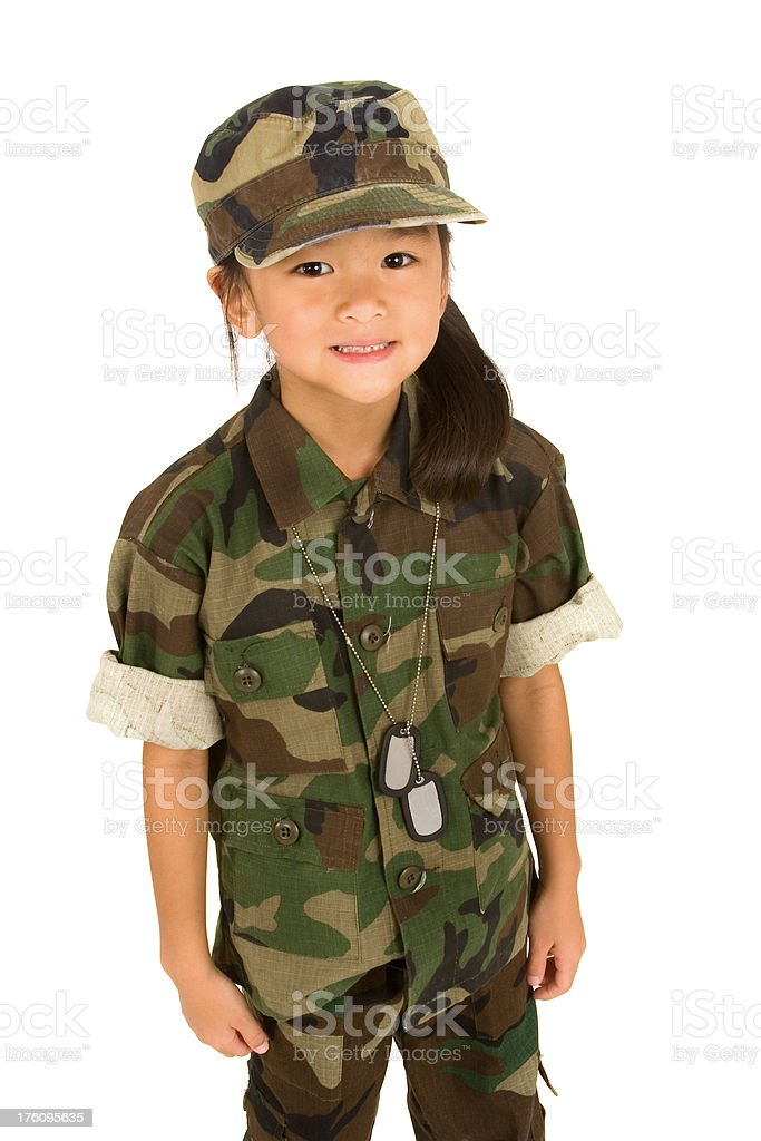 Little girl soldier royalty-free stock photo