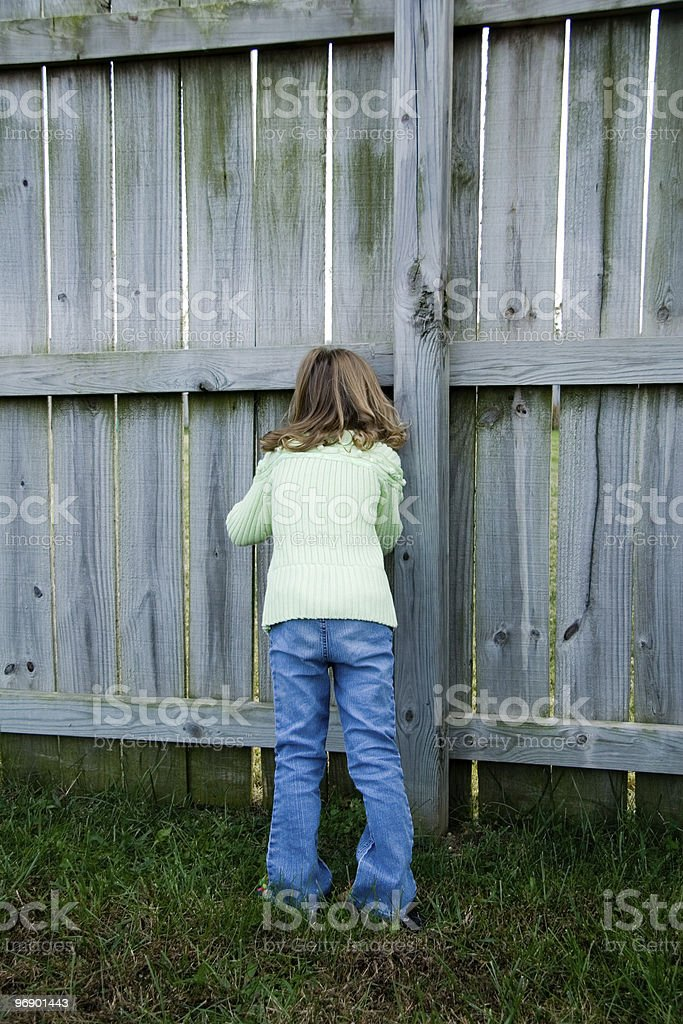Little Girl Spying royalty-free stock photo