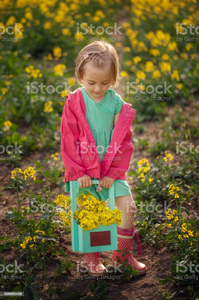 Little Girl Standing In Spring Yellow Meadow Child Picking Summer