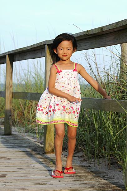 little girl standing on deck at beach stock photo