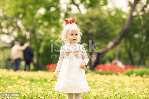 istock Little girl staying in the dandelion field. 476737336