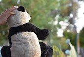 Little girl stroking a Panda bear