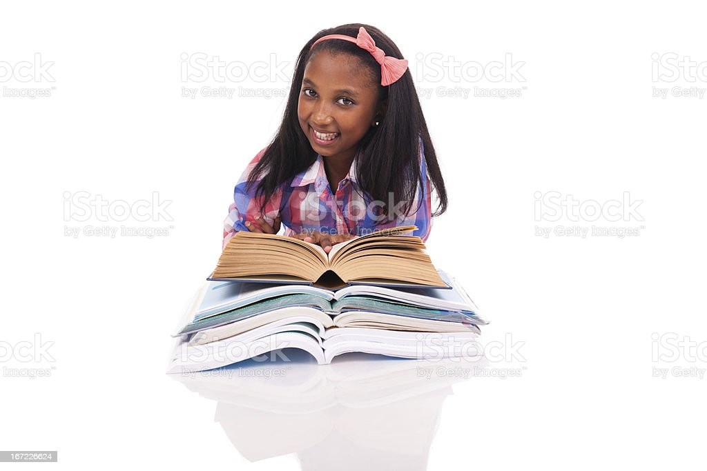 Little girl studying royalty-free stock photo
