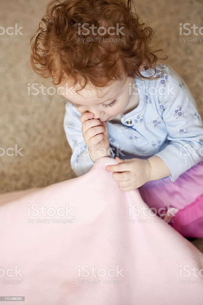Little Girl Sucking Thumb With Blanket royalty-free stock photo