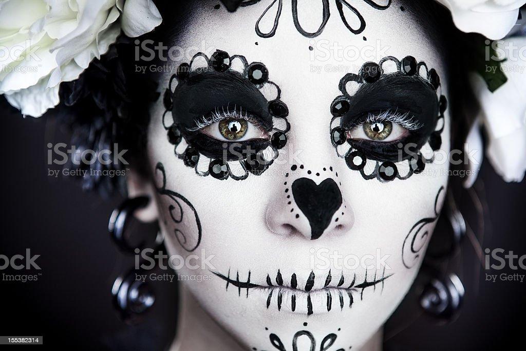 Little Girl Sugar Skull stock photo