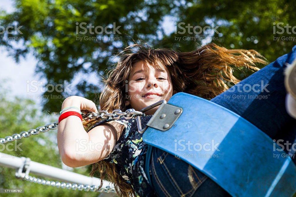 Little Girl Swinging royalty-free stock photo
