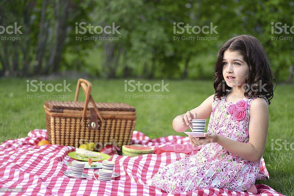 little girl tea party stock photo