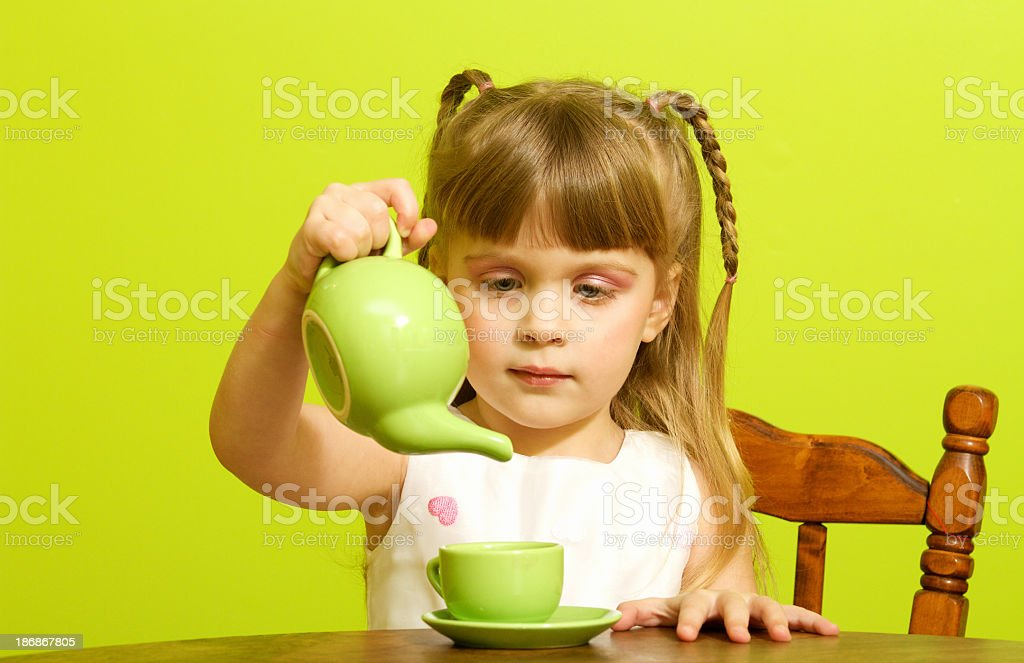 Little Girl Tea Party royalty-free stock photo