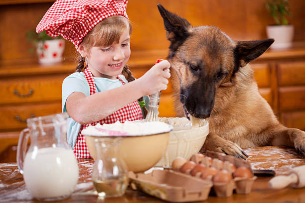 little girl that blurs  the dough ,and German Shepherd steals a little girl and her friend dog make a mess in the kitchen dog baking
