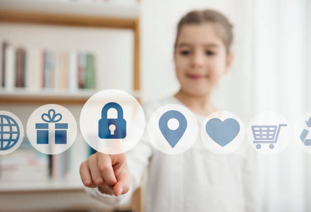 Little girl touching the security button on the digital screen child, internet, security, social media safe security equipment stock pictures, royalty-free photos & images
