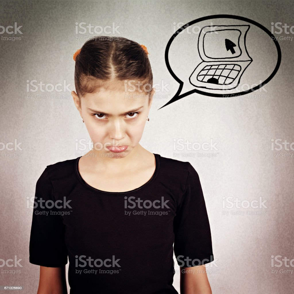 little girl, unhappy, grumpy, displeased offended stock photo