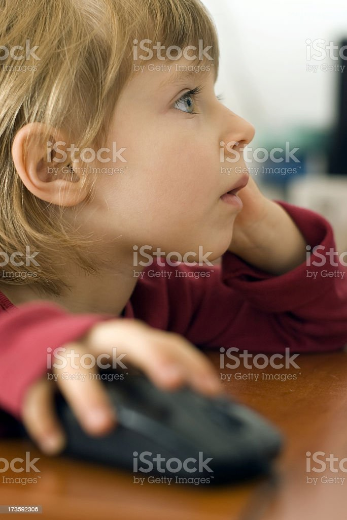 Little girl using computer royalty-free stock photo