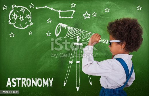 istock Little girl using his imagination to look at stars 599962698