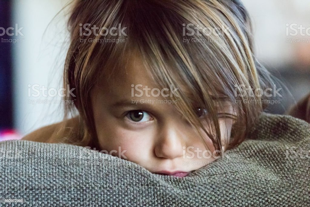 Little girl very upset stock photo