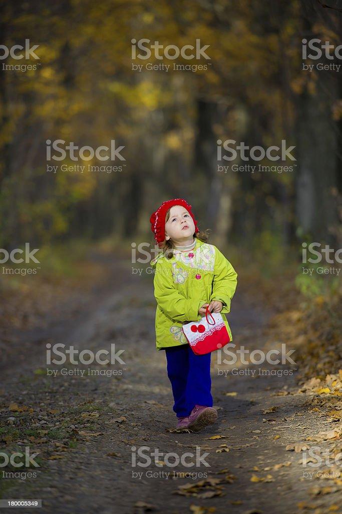 소녀만 도보여행에 oak grove royalty-free 스톡 사진